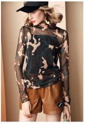 Cuello alto rebordeado de compensación de la parte inferior de manga larga Blusa para mujeres