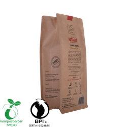 Eco Papel Kraft Zipper Fundo Plano de acúmulo de Bolsa de café de amido de milho Bio degradável PLA Bag