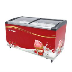 298L 상부 개방형 슬라이딩 유리 도어 디스플레이 가슴 냉동고 아이스크림 포즈클/아이스크림 커브드 글래스 도어 쇼케이스 가슴 디스플레이 냉동고(SDX-298)