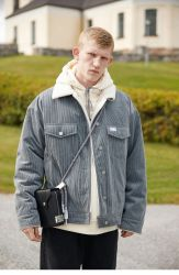 Nouvelle conception de la laine de cachemire manteau jeans style Vêtements hommes veste extérieure d'hiver