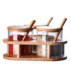 Vidro de cozinha apimentar o canister Conjunto de 3 Alta Temporada de Armazenamento de garrafas de vidro borossilicato