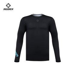 퓨어 컬러 블랙 롱 슬리브 컴프레션 셔츠 남성용 타이츠 피트니스