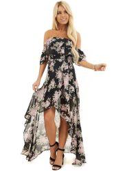 Nieuwe aankomst van de Sexy High Low Floral Long van de Schoudervrouw Casual Summer Dress