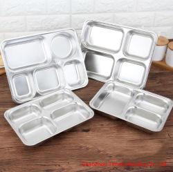 Populares del compartimento de 3/4/5 Acero inoxidable 304 de la bandeja de comida rápida y Almuerzo en Caja con tapa