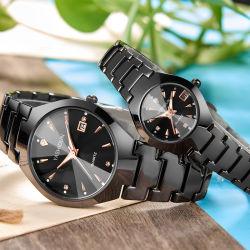 Nam de Gouden Lijst van de van de Bedrijfs kalender van het Horloge van het Staal van het Wolfram Waterdichte Levering voor doorverkoop van het Horloge van de Student van de Tendens van de Lijst van de Riem van het Staal van de Dames van het Paar toe