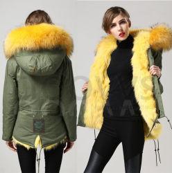 2015 neuer warmer Frauen-Winter-Oberbekleidung-Gelb-Damenrealer Fox-Pelz-Parka-mit Kapuze Jacken-Mantel