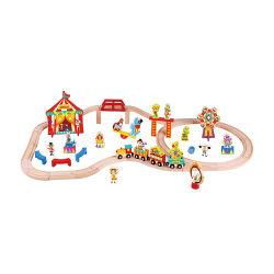 I giocattoli stabiliti della casa fingono il gioco nell'insieme del treno del circo DIY con il treno di legno ferroviario del circo impostato per il bambino europeo
