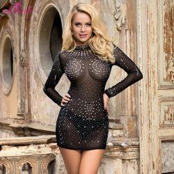 Estrás Boutique transparente noche sexy ropa del Club de Mujeres Plus Size Dress