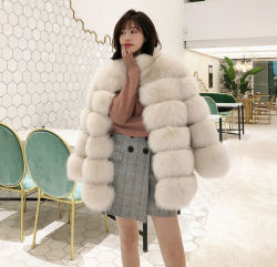 Venta caliente Abrigo de invierno de la señora de la banda diagonal de la chaqueta de piel de diseño para las mujeres Fox la mujer de piel recubra
