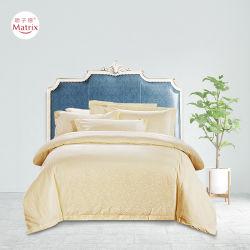 Großhandelshauptbaumwollmit hoher schreibdichte Silk rührendes Jacquardwebstuhl-Bett-Blatt-Kissen-Steppdecke-Trösterduvet-Deckel-Schlafzimmer-Bett-Bettwäsche-Set des hotel-4PCS reine des Ingwer-100%