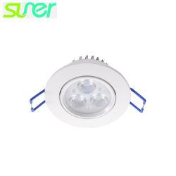 Регулируемый Круглый потолочный освещения встраиваемый светодиодный фонарь направленного света 3X1w 3000K теплый белый свет