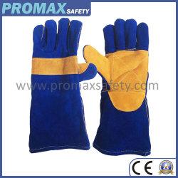 Double Soudure Palm vache bleu split de la sécurité en cuir des gants de travail