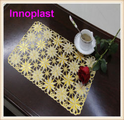 PVC Lace Placemat/Crochet Doilies avec Gold Coated (JFCD-096)