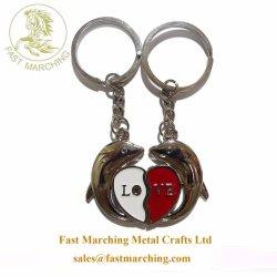 Индивидуальные подарки из нержавеющей стали в форме сердечка сувенирный эмаль цепочке для ключей