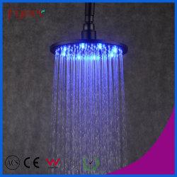 Fyeer Latón accesorios de baño con ducha Ducha LED negro cabeza