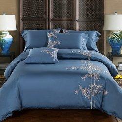 La literie en coton égyptien de luxe de longues séries de motif de fleurs de Couette ensemble drap de lit Pillowsham 4PCS Hommage pastorale de la soie