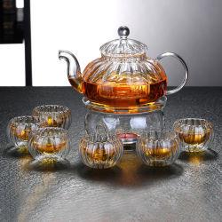 El té de la creativa cristalería vidrio Tea Pot y vasos de vidrio de borosilicato tetera