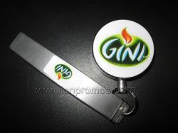 Logotipo de la cerveza de regalo promocional abridor de metal con trazabilidad Badge tambor