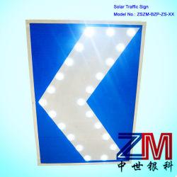 Angeschaltenes blinkendes Solarverkehrsschild des Verkehrszeichen-/LED für Richtung
