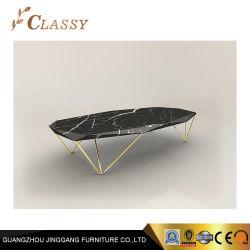 Table à café de marbre irrégulière Noir métal meubles de salle de vie de base