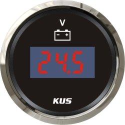 Cadran noir 52mm Jauge de tension numérique voltmètre V rétro-éclairage LED pour Voiture Bateau Yacht universel