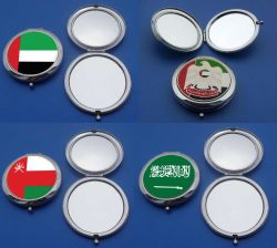 Logo personnalisé Double côté métallique compact portable miroir cosmétique de pliage