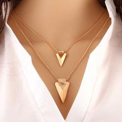三角形の吊り下げ式のCollaresの最小主義の宝石類の二重層の珍味のネックレス