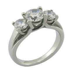 模造CZは3つの熊手の結婚指輪に投石する