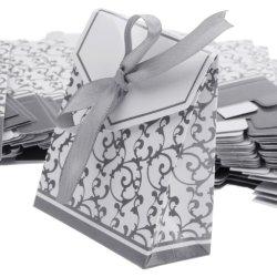 De Verpakkende Zakken van het Document van de Vakjes van de Gift van het Geval van het Suikergoed van de Gunst van het Huwelijk van het Lint van de Leverancier van China