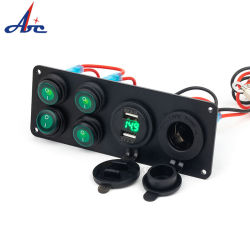 El interruptor basculante 4.2A USB doble Voltímetro Panel Cargador de coche