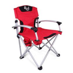 Camping chaise pliante Heavy Duty Châssis en acier pliable Quad Président bras rembourrés chaise avec porte-gobelet pour l'extérieur portable