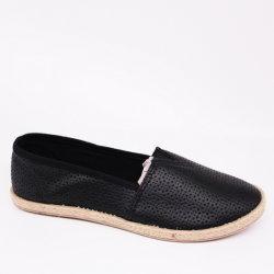 Trotteurs en cuir noir PU souple occasionnel des chaussures plates avec le chanvre