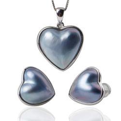 Kleur 925 van de Parels van Mabe van het Hart van het zoutwater Witte, Roze, Blauwe de Echte Zilveren Reeks van de Juwelen van de Oorring van Tegenhangers
