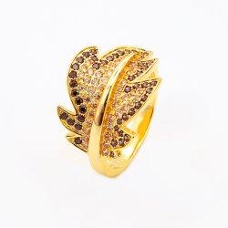 Chapado en oro de estilo árabe de plata Anillo Anillo de dedo de la hoja de moda para mujeres y niñas