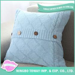 Commerce de gros cas coussin décoratif oreiller en coton bleu clair de jeter le couvercle