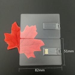 Transparentes der Karten-1 seitliches Stock-kundenspezifisches Firmenzeichen 4-32GB Druck-Firmenzeichen USB-2.0 USB-grelle Feder-Laufwerk-Platte (TF-0110)