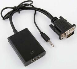 3.5mmステレオAVののHDMIのアダプターへの黒いポータブルVGA HDMIのコンバーターへのケーブル及びUSB VGA