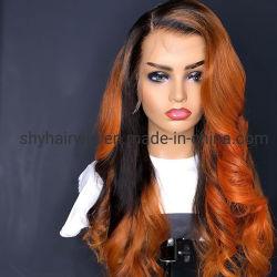African American Mélange Couleur Perruques Cheveux humains avec repère naturel