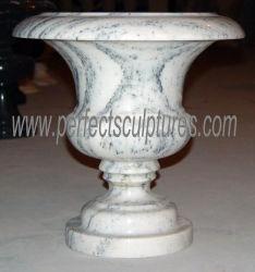 屋内屋外の装飾(QFP596)のためのカスタマイズされた現代デザイン楕円形の円形の白い大理石の石造りの植木鉢