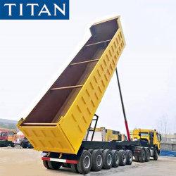Titan 6 essieux remorque de camion à benne 80 la tonne pour le transport de sable et gravier