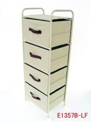 Tissu 4 tiroirs étagère avec armoire de stockage du tube métallique