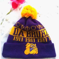 personalizado para homens e mulheres populares moda cores misturadas a esfera de lã quente no inverno com 3D Bordados Hat Beanie Hat tricotadas, Hat Cap