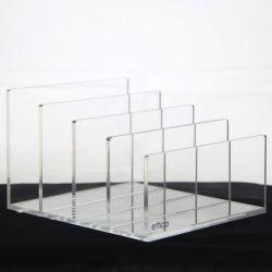 De glasheldere AcrylHouder van de Sorteerder van het Dossier van de Desktop - de Post van het Perspex, Document, de Organisator van de Omslag van het Dossier – Oogschaduw, het Palet van de Make-up en de Organisator van de Elektronika