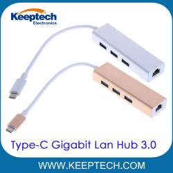 3.1 USB USB Tipo C-C a 3 Portas Hub USB 3.0 com conectores RJ45 Adaptador de rede LAN Ethernet Gigabit