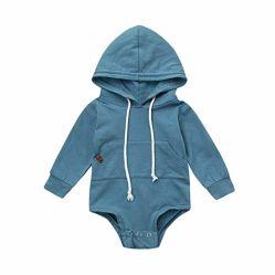 Il bambino dell'infante appena nato copre le merci lunghe solide del bambino del manicotto del pagliaccetto della ragazza del ragazzo delle magliette felpate delle caselle incappucciate del Drawstring