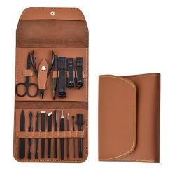 16 ПК черный лак для ногтей подарков для стрижки волос маникюр для мужчин женщин с PU футляр из натуральной кожи