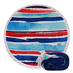 Conception personnalisée OEM imprimer Coton Beach Blanket baignoire ronde en microfibre Serviette Serviette de natation de Yoga fabricant