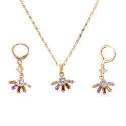 925銀製の黄銅及びマルチカラーCZの宝石類の一定の方法宝石類のネックレスのイヤリング