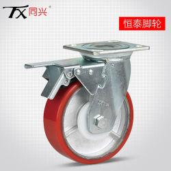 """6 """"ブレーキ(平面)が付いている鉄心ポリウレタン旋回装置の足車の車輪"""