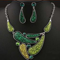 عالة [ستينلسّ ستيل] [جولّري] اللون الأخضر حالة حبّ قلب مدلّاة مجوهرات محدّد [هرت-شبد] عقد وحل مجوهرات مجموعة